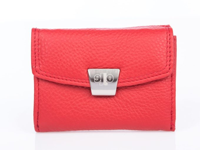 Mały skórzany portfel damski czerwony