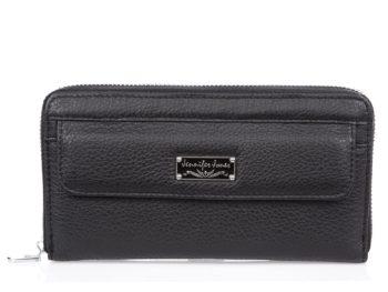 Czarny, duży portfel skórzany damski