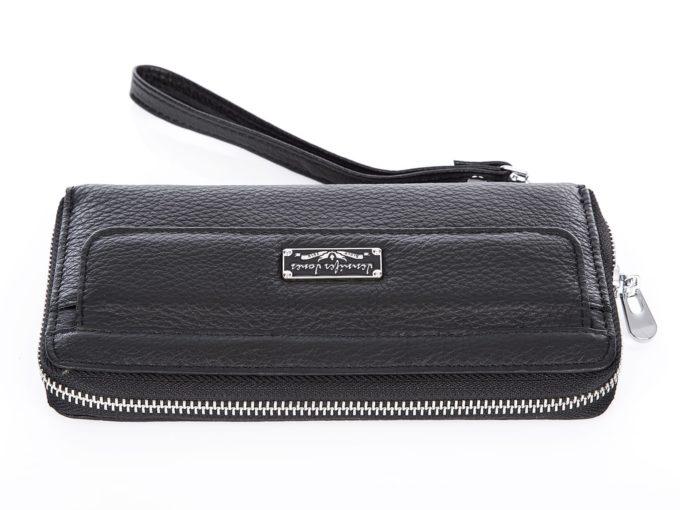Skórzany portfel damski z paskiem na rękę