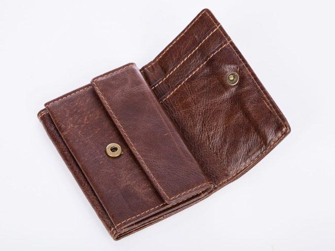 brazowy zapinany mały portfel męski