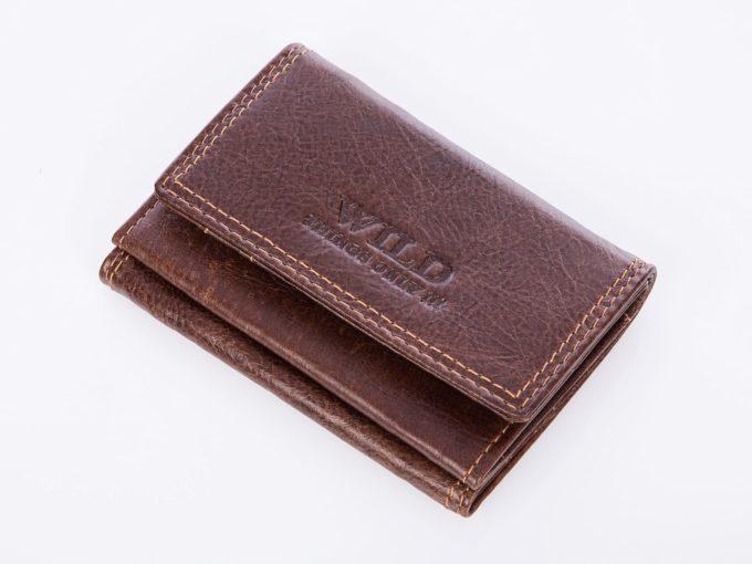 Brązowy malutki portfel męski