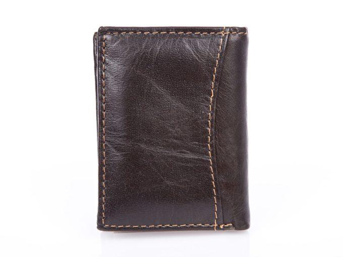 Brązowy miniaturowy skórzany portfel męski