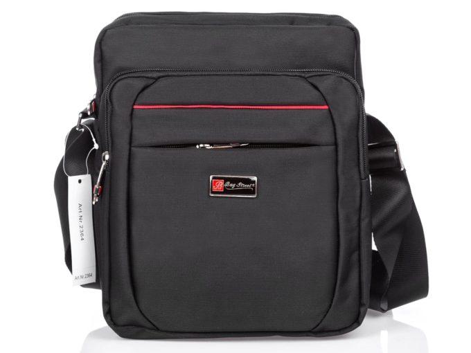 Wygodna torba męska na ramię czarna z czerwonym akcentem