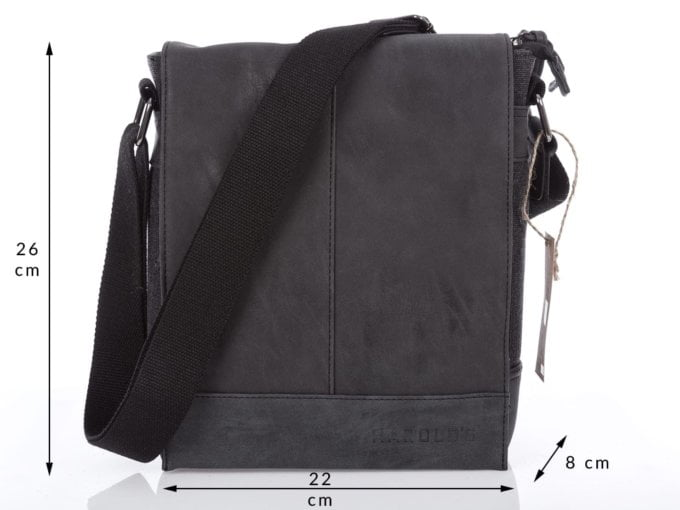 Męska torba na ramię czarna z klapką