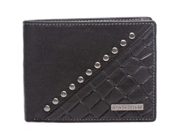 Czarny portfel bifold z ćwiekami