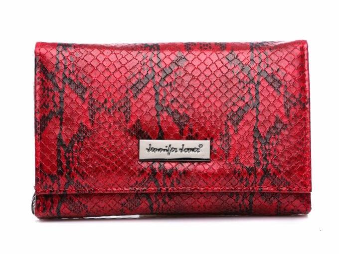 Czerwony portfel damski imitacja skory węża