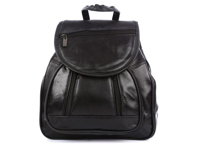 Czarny plecaczek damski skórzany