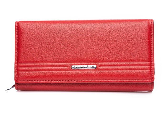 Czerwony duży portfel z poziomymi liniami
