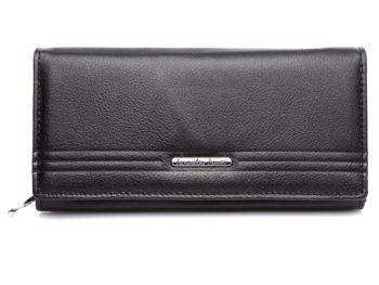 Czarny duży matowy portfel damski Jennifer Jones