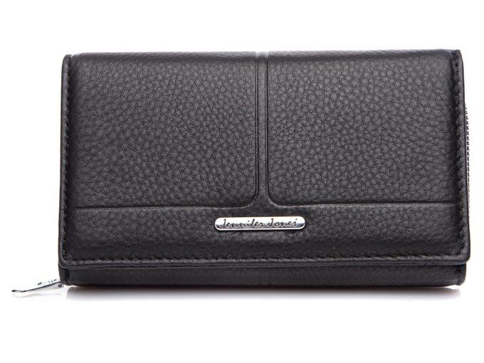 Czarny matowy duży portfel damski