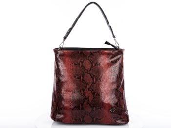 torebka damska czerwony wężowy wzór