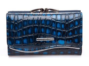 Niebieski z czarnym portfel damski lakierowany