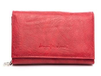 Czerwony portfel Jennifer Jones skóra ekologiczna