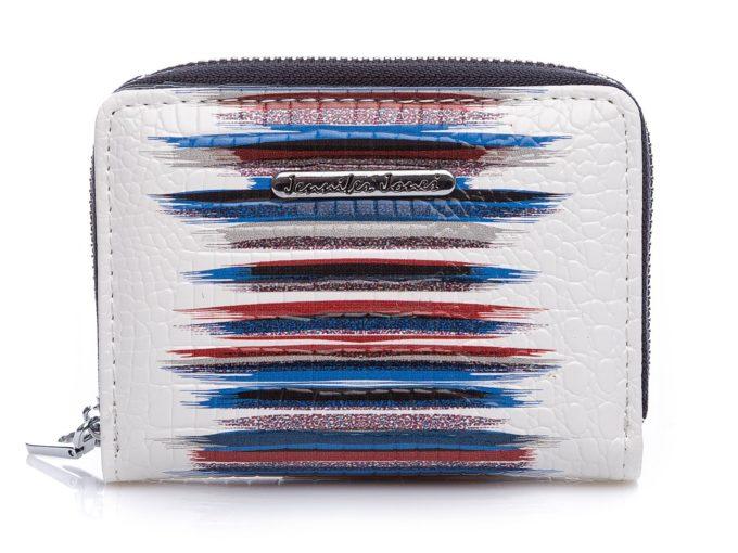 Mały portfel damski biały z granatowymi pasami 5248