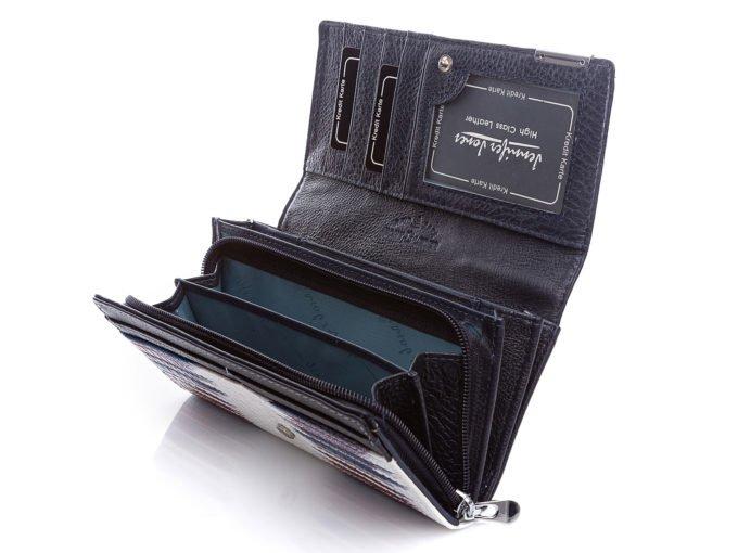 Wnętrze portfela z otwartą kieszenią na bilon