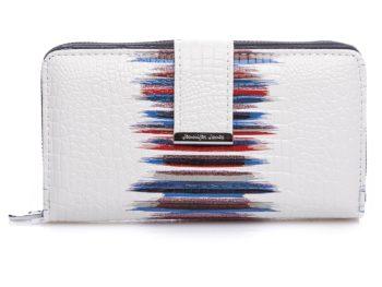 Duży portfel biały z granatowymi pasami Jennifer Jones