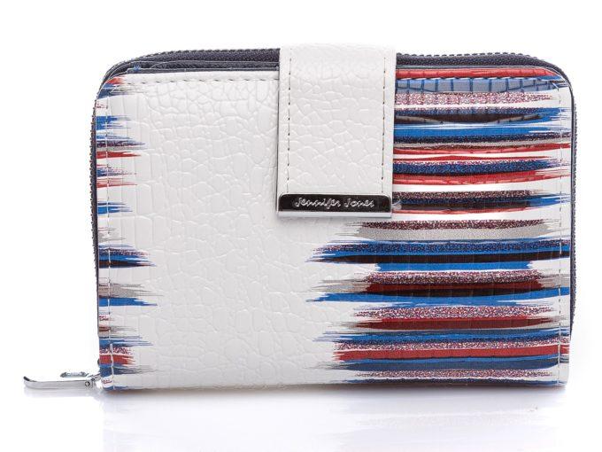 Średniej wielkości portfel damski - biało granatowy