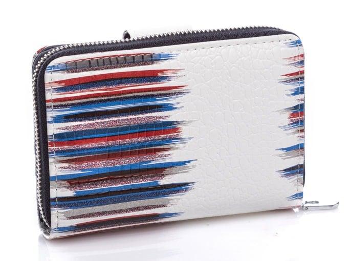 Biały portfel z granatowymi pasami