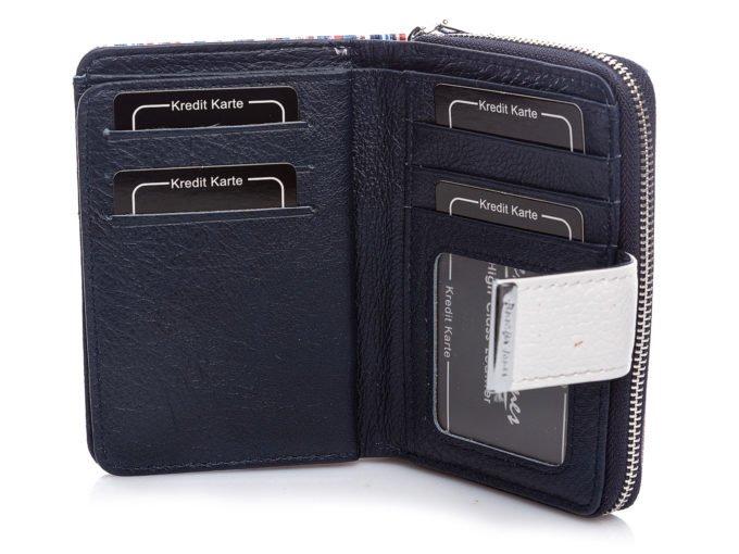 Wnętrze portfela w kolorze granatowym