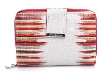Średniej wielkości portfel biało-czerwony Jennifer Jones
