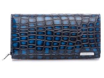 Granatowy portfel damski Jennifer Jones - krokodyl