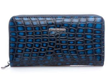 Granatowy portfel - skóra krokodyla, Jennifer Jones