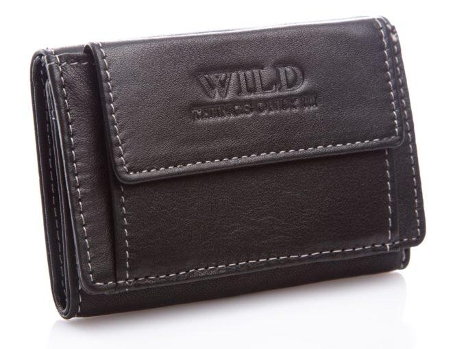 Mały czarny skórzany portfel Wild