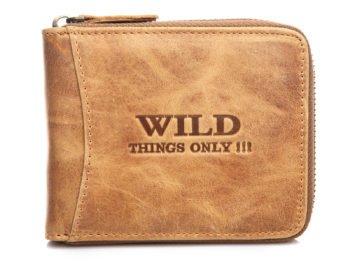 Beżowy portfel męski skórzany zapinany na zamek błyskawiczny