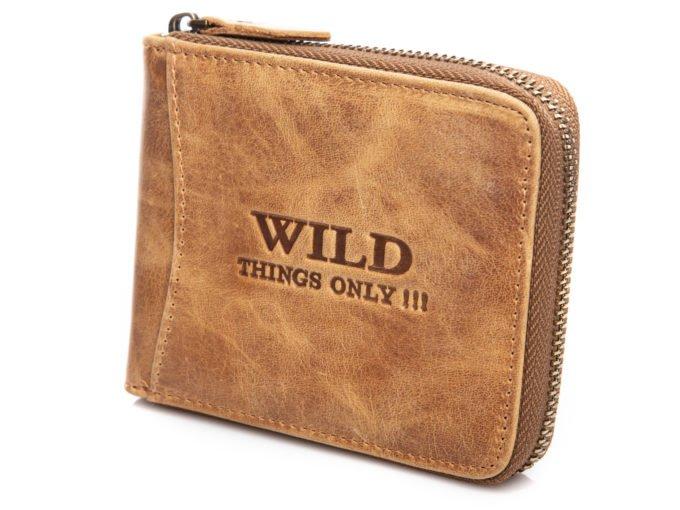 Beżowy poziomy portfel męski WILD
