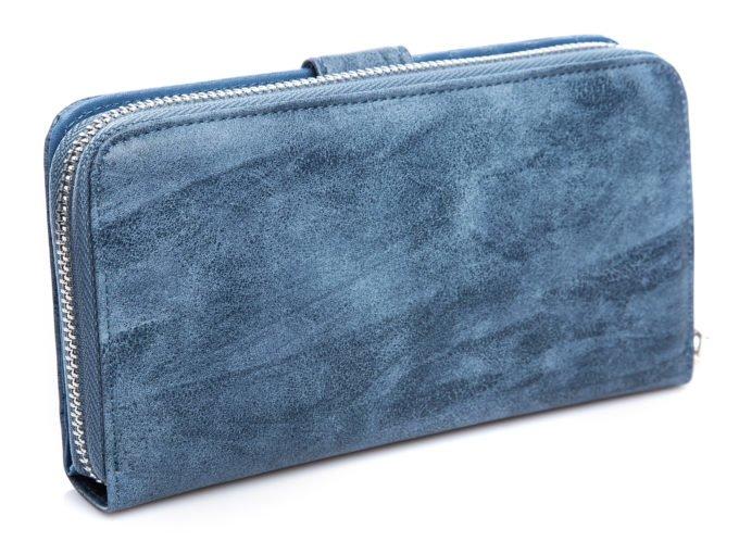 Cieniowany, niebieski portfel damski