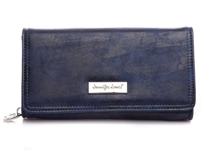 Granatowy, duży portfel z eko skóry Jennifer Jones