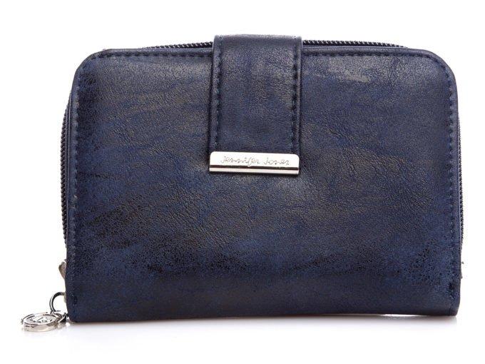 Średni granatowy cieniowany portfel damski z eko skóry Jennifer Jones