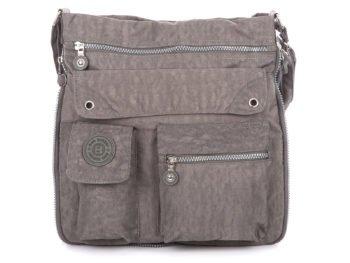 Szara torba damska z zamkiem do poszerzania