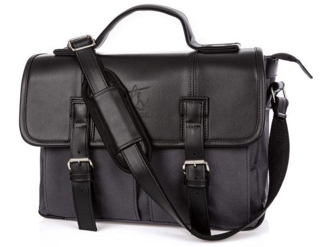 Duża torba męska do pracy z czarną klapą i materiałem w kolorze szarym.