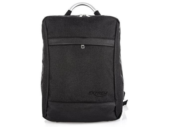 Czarny prostokątny plecak na laptopa Bag Street z aluminiową rączką