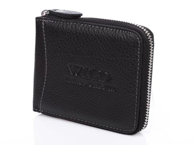 Czarne portfele męskie skórzane