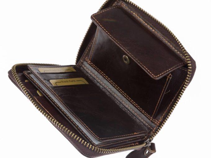 Ciemno brązowy portfel męski skórzany