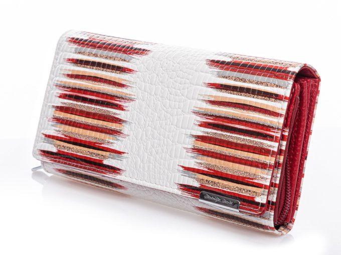 Biało czerwone portfele damskie skórzane lakierowane