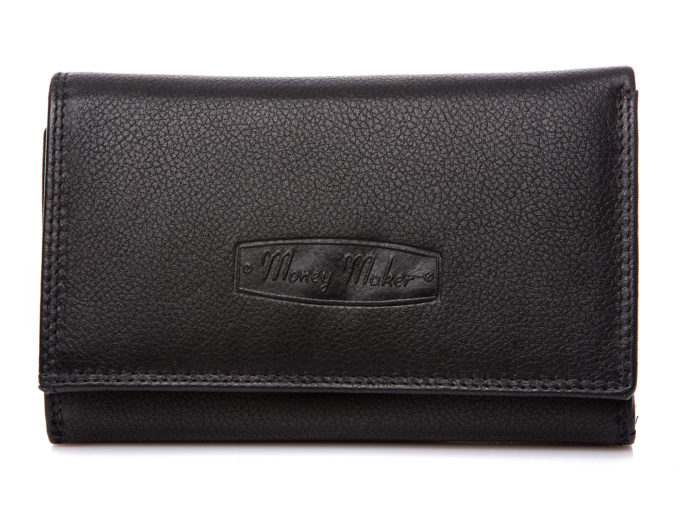 Duży czarny portfel damski ze skóry naturalnej Money Maker