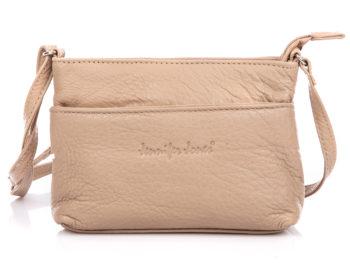 Mała skórzana torba damska na ramię beżowa Jennifer Jones