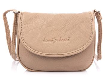 Mała skórzana torebka damska na ramię z półokrągłą klapką beżowa Jennifer Jones