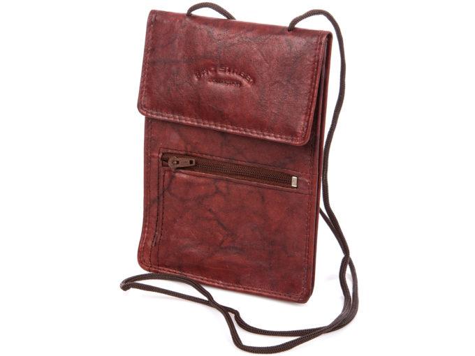 Saszetka paszportówka na szyję ciemno brązowa Bag Street