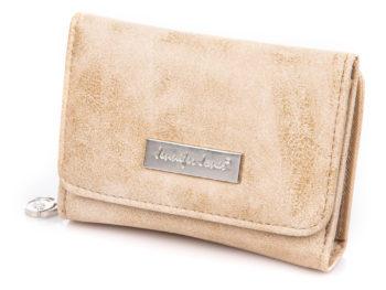 Mały beżowy portfel damski ze skóry ekologicznej Jennifer Jones