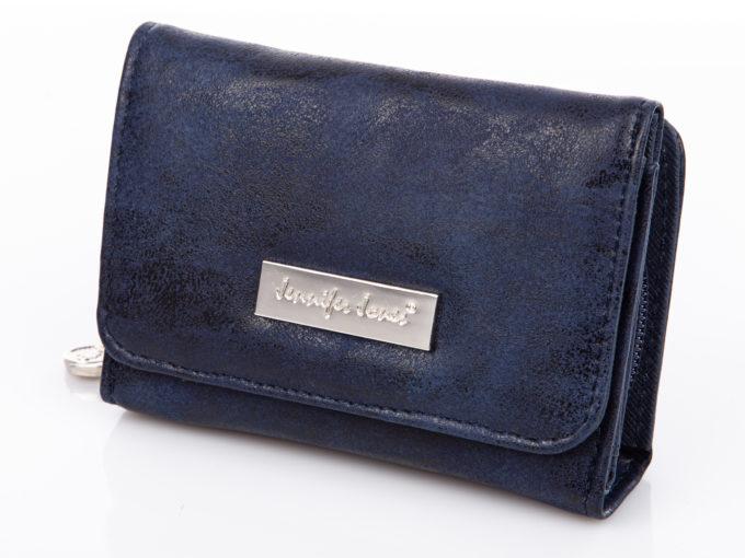 Mały portfel damski ze skóry ekologicznej granatowy