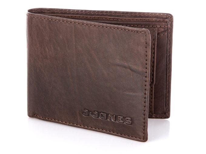 Ciemno brązowo portfel męski skórzany średni J Jones