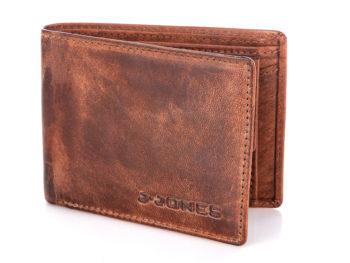 Brązowy portfel męski skórzany RFID J Jones