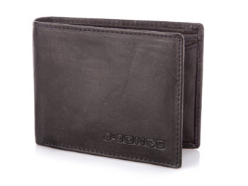 Czarny skórzany portfel męski średni J Jones
