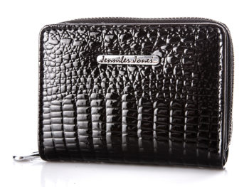 Mały czarny portfel damski lakierowany Jennifer Jones