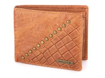 Duży portfel męski skórzany brązowy tłoczony z ćwiekami