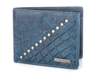 Niebieski duży portfel męski skórzany z ćwiekami J Jones